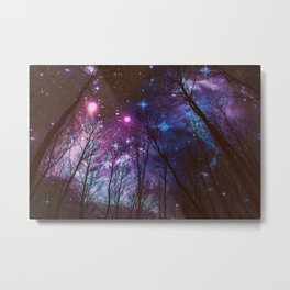 Black Trees Dark Space. Metal Print