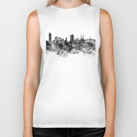 vienna Biker Tanks featuring Vienna skyline in black watercolor by Paulrommer