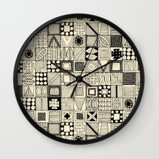 wolf geo black ivory Wall Clock