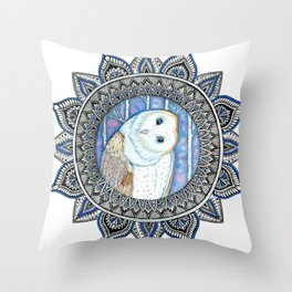 Winter Barn Owl Mandala Throw Pillow