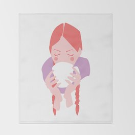 Redheaded Girl Sipping From Mug Throw Blanket