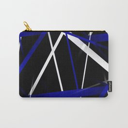 Seamless Royal Blue and White Stripes on A Black Background Carry-All Pouch