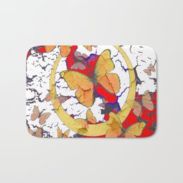 YELLOW  BUTTERFLIES IN WHITE & RED ABSTRACT Bath Mat