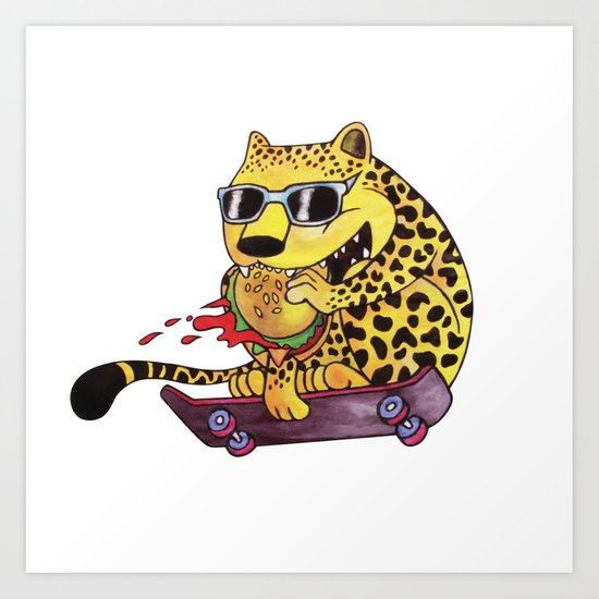 Skating Cheetah Art Print