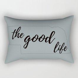 The Good Life - Nebraska Outline - Grey and Black Rectangular Pillow