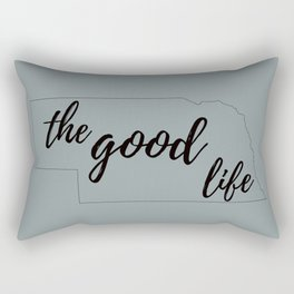 The Good Life - Nebraska Outline - Grey and Black Rectangular Pillow
