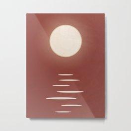 Ocean Sun: Tranquil Red Skies Metal Print