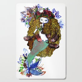 Mermaid blue, red and gold Cutting Board