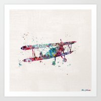 plane Art Prints featuring PLANE by Watercolorist