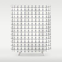 anchors Shower Curtains featuring anchors by Kirk and Wood