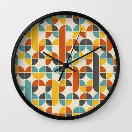 1970s Colors Mid Century Modern Geometric Pattern  Wall Clock
