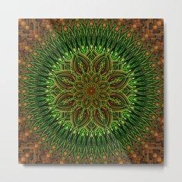 Earth Flower Mandala Metal Print