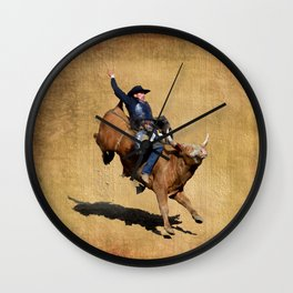 Bull Dust! - Rodeo Bull Riding Cowboy Wall Clock