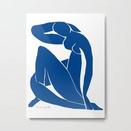 Henri Matisse - Blue Nude II - Minimalist Blue Metal Print