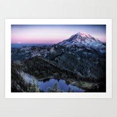 Mountain and Full Moon Art Print