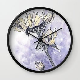 Dried Wild Flowers  Wall Clock