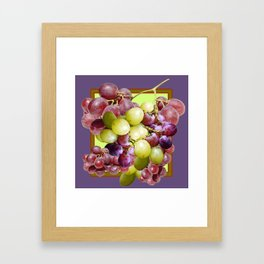 PURPLE & GREEN GRAPES VINEYARD PURPLE DESIGN Framed Art Print