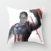 captain silva Throw Pillows featuring Captain by Alba Palacio