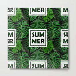 Tropical green monster leaves floral summer typography Metal Print