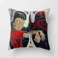 vans Throw Pillows featuring Thriller Vans by MonsterMacDesigns
