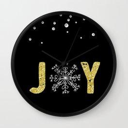 JOY w/White Snowflakes Wall Clock