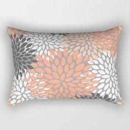 Floral Pattern, Coral, Gray, White Rectangular Pillow