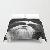 shih tzu Duvet Covers featuring Shih Tzu Dog by ritmo boxer designs