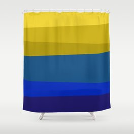 Blues and golds Shower Curtain