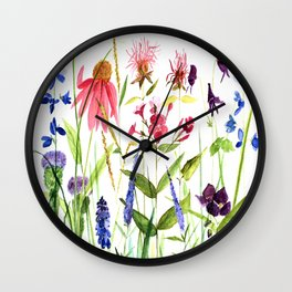 Botanical Colorful Flower Wildflower Watercolor Illustration Wall Clock
