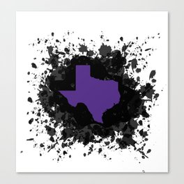 Purple State of Texas with Black Ink Splatter Canvas Print