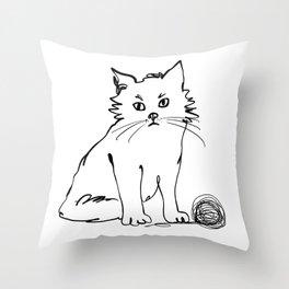 Katzen 012 / Cute Kitten Minimal Line Drawing Throw Pillow