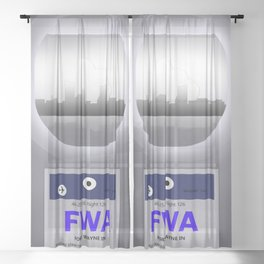 Fort Wayne - FWA - Airport Code and Skyline Sheer Curtain