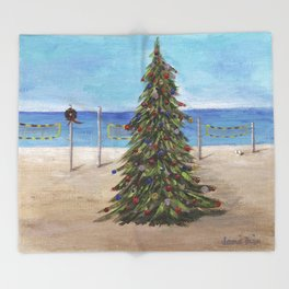 Christmas Tree at the Beach Throw Blanket