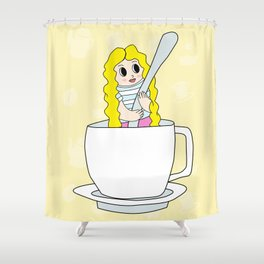 Biondina at coffee time Shower Curtain