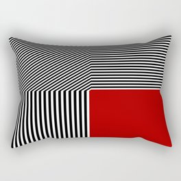 Geometric abstraction: black and white stripes, red square Rectangular Pillow
