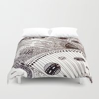 zentangle Duvet Covers featuring Zentangle by Marisa Toussaint