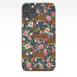 Hereford Cattle breed floral farm homestead gifts cow art florals iPhone Case