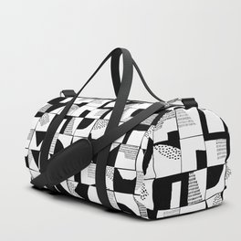 Black and White Typographical Fragmentation Cheater Quilt Duffle Bag