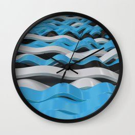 Black, white and blue sine waves Wall Clock