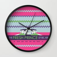 fresh prince Wall Clocks featuring The Fresh Prince of Bel-Air by Dwele Rosa