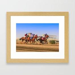 horses racing Framed Art Print