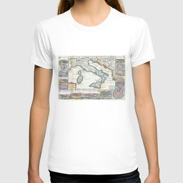 Vintage Map of Italy (1706) T-shirt