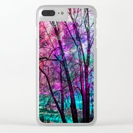 Purple teal forest Clear iPhone Case