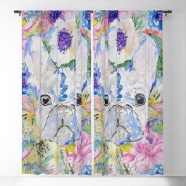 Abstract French bulldog floral watercolor paint Blackout Curtain