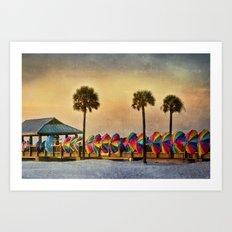 Windbreaks on Pier 60 at Clearwater Art Print