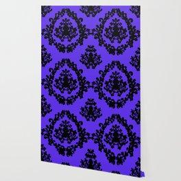 Victorian Damask Purple and Black Wallpaper