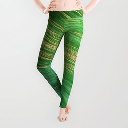 Green Mermaid Glamour Marble With Gold Veins Leggings