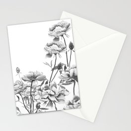 black and white peonies Stationery Cards
