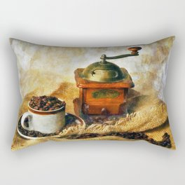 Coffee Grinder and Coffee Cup Rectangular Pillow