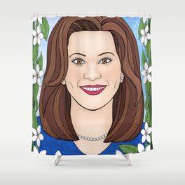Gretchen Whitmer portrait with apple blossoms Shower Curtain